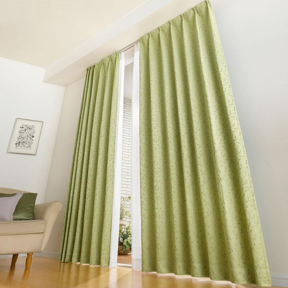 リーフ柄 形状記憶加工 多サイズ・多機能カーテン 幅100cm(2枚組) (ウ)グリーン 高い窓にも 丈260cmまで