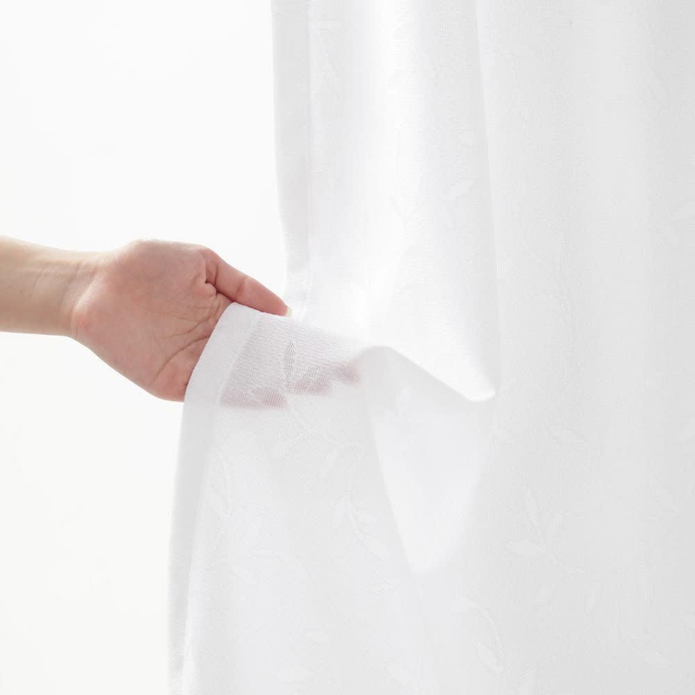 リーフ柄 形状記憶加工 多サイズ・多機能レースカーテン 幅100cm(2枚組)