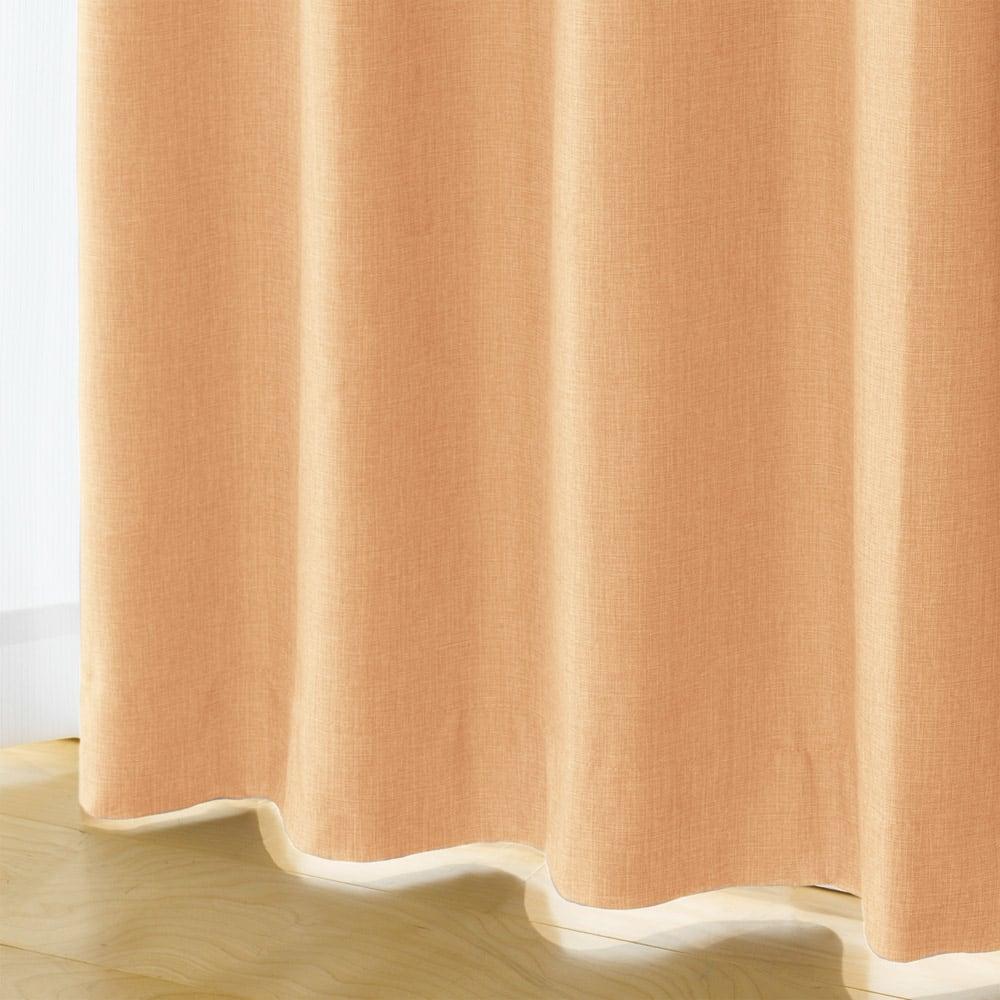 多サイズ展開・1級遮光省エネ遮熱カーテン100cm幅(2枚組) (エ)オレンジ