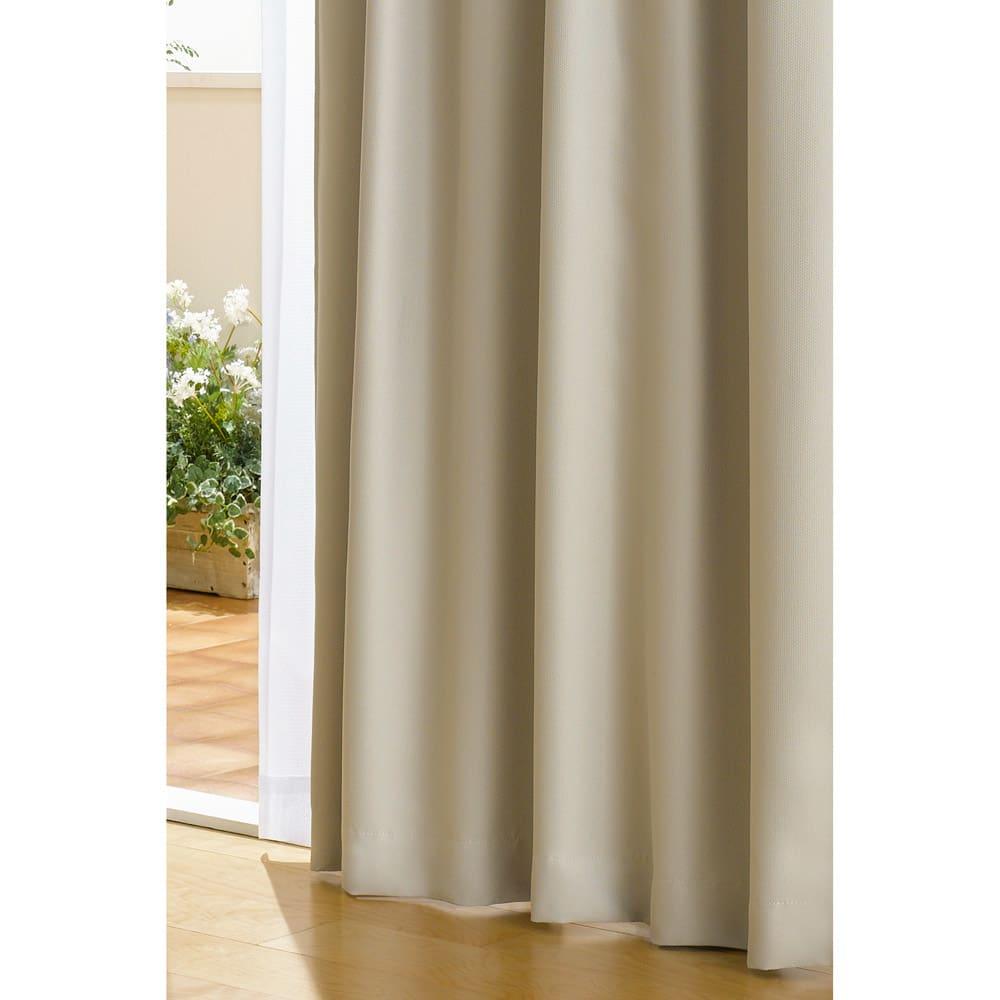 防音・1級遮光・遮熱カーテン(2枚組)幅100cm (カ)グレーベージュ