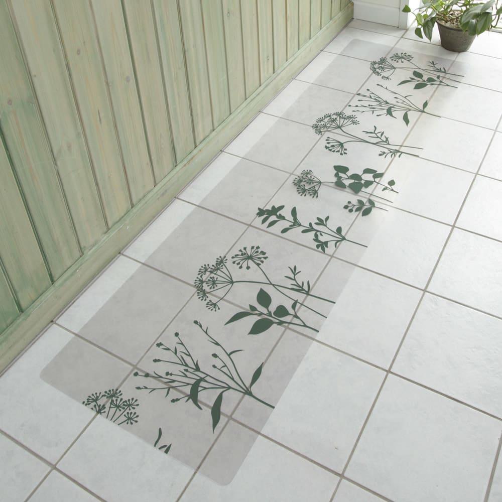 塩ビプリント キッチンマット 〈スタンディングフラワー〉 (イ)モスグリーン ※写真は約50×180cmタイプです。