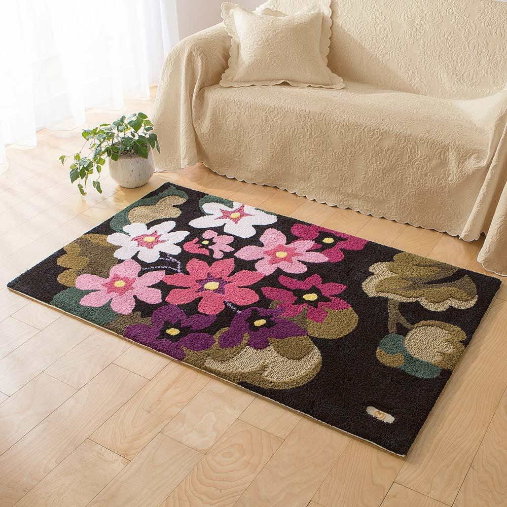 ミラショーン玄関マット/ラグ アジサイ  (イ)ピンク系 ※写真は約90×150cmタイプです。