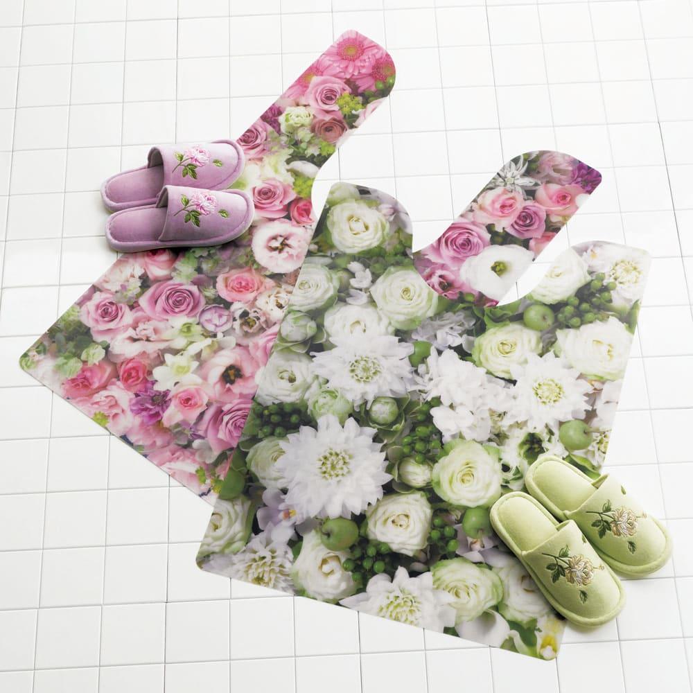 プリントトイレマット 写真左から(ア)ピンク系(耳長タイプ)、(イ)グリーン系(大判タイプ) ※スリッパは別売りです。