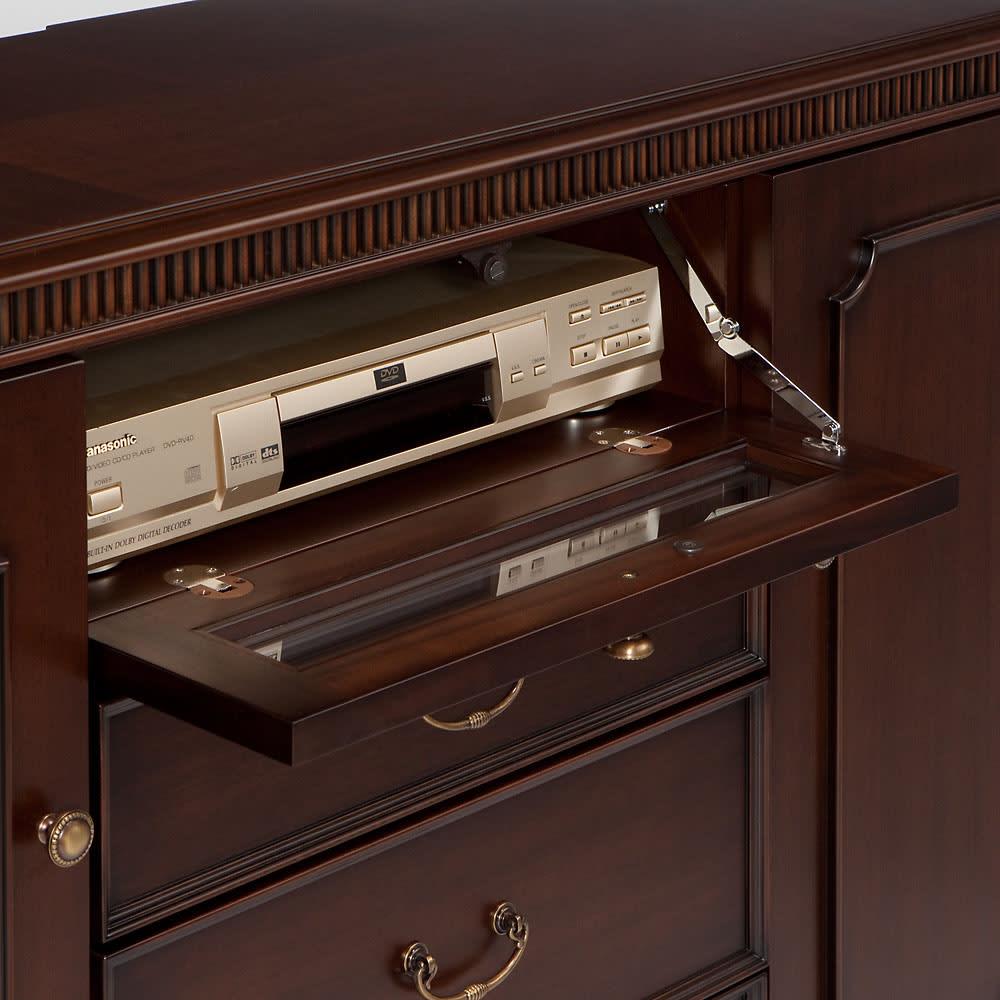 クラシカルロイヤル ケントハウスシリーズ サイドボード 中央扉はデッキが収納できるフラップ扉式。