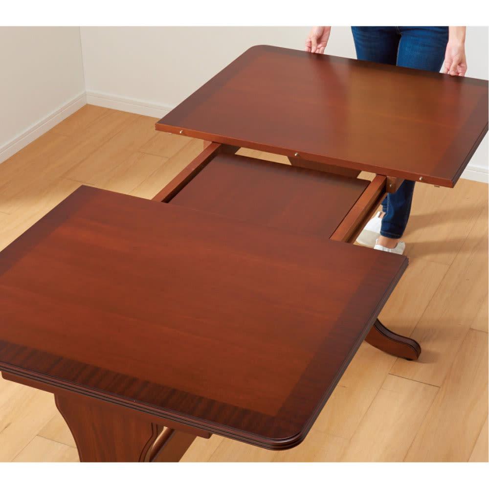 ベネチア調象がんシリーズ 伸長式ダイニングテーブル 簡単な伸長式。