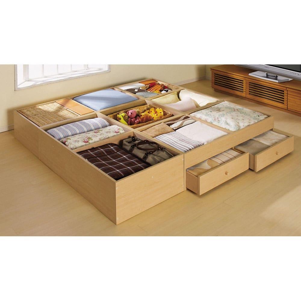 ユニット畳シリーズ 1畳引出し付き 高さ31cm 収納例:畳の下は全て収納スペースに。