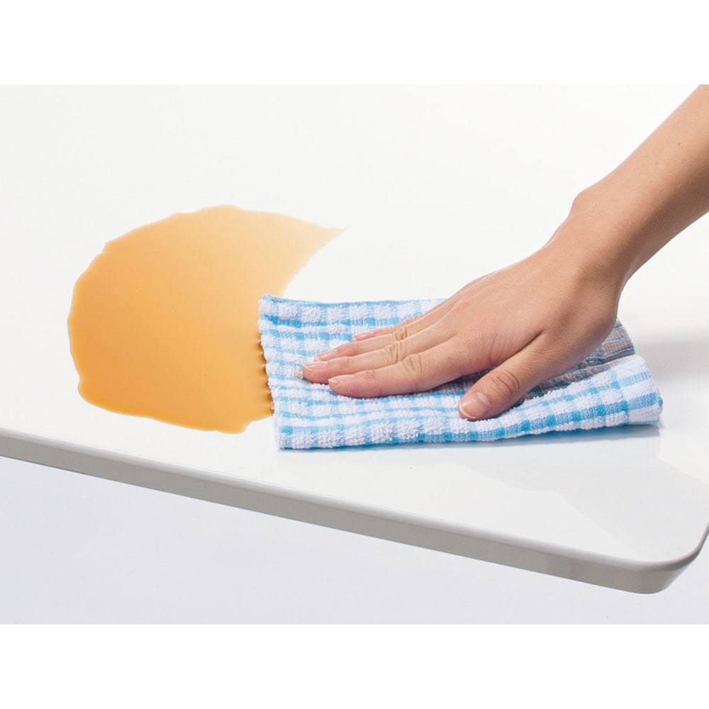 移動がしやすい!キャスター付き昇降式テーブル幅120 水・簡単な汚れもサッとふき取れます。