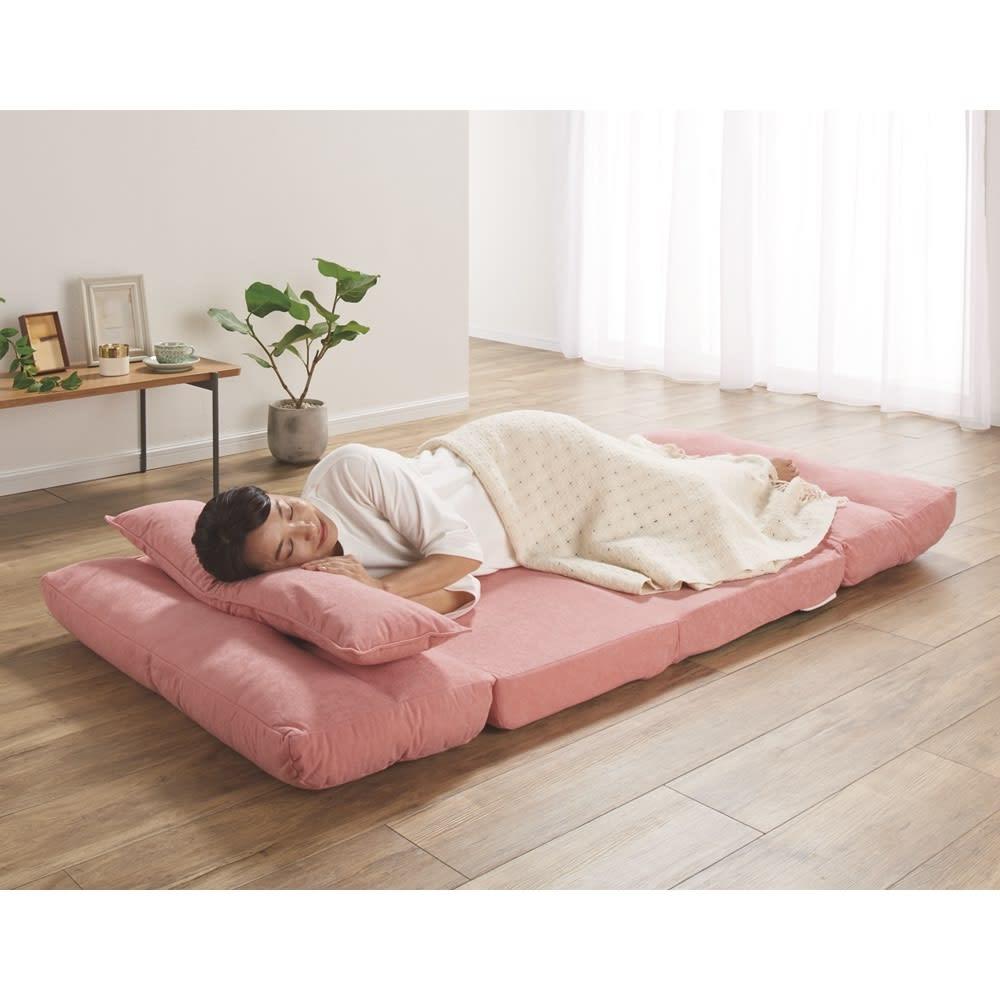 3つ折れリクライニングソファベット (ウ)ピンク