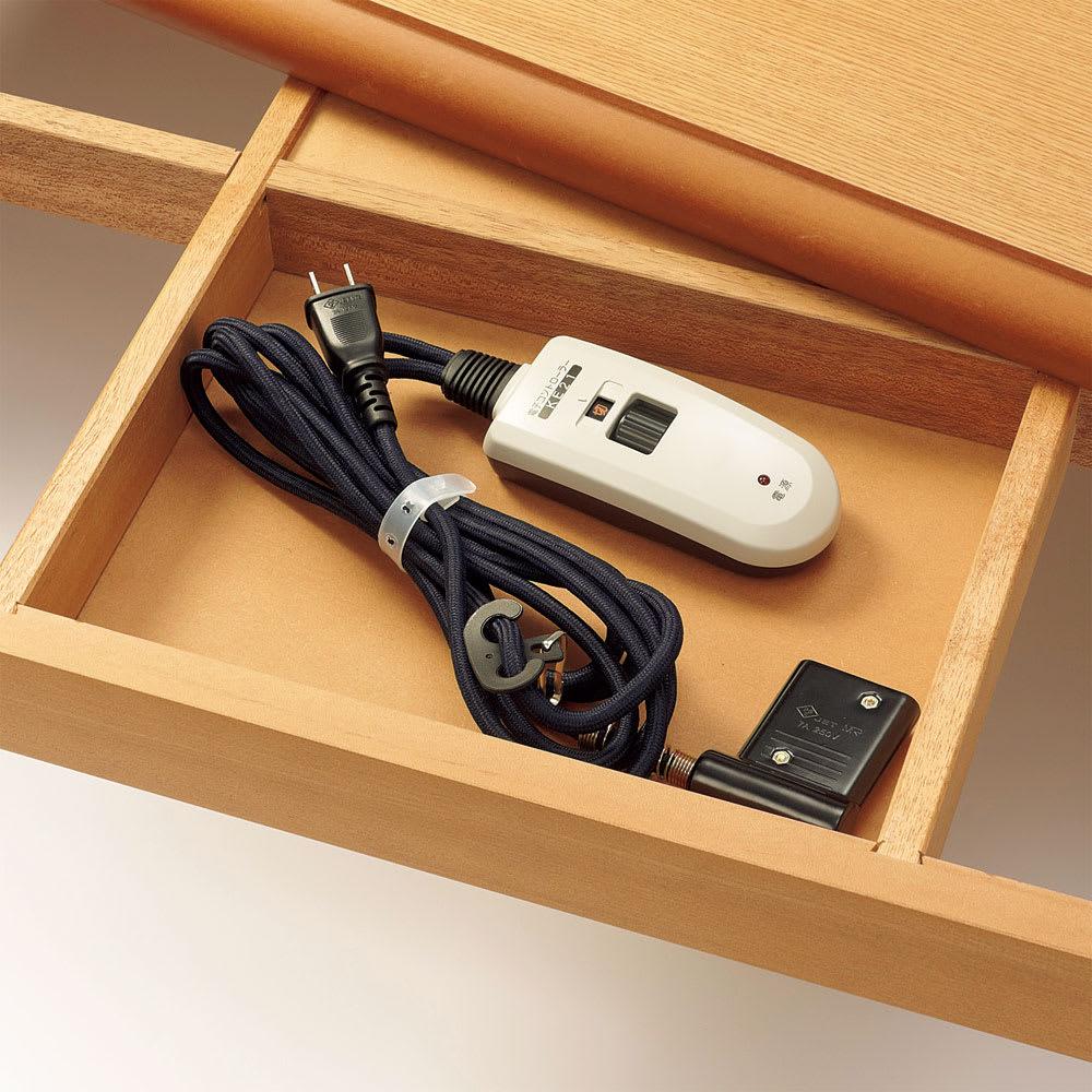 【長方形・超特大】 楢ラウンドデザインこたつテーブル 幅210×奥行100cm 迷子になりがちなコード類は天板裏に収納しておけます。