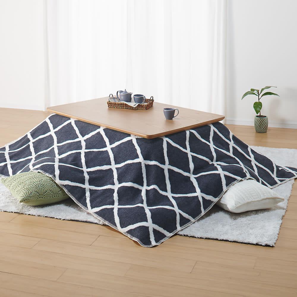 ウール・コットン「ジオメトリック」 こたつ掛け毛布シリーズ ひざ掛け毛布 色見本(ア)モノトーン 裏面 こたつ掛け毛布 ※お届けはひざ掛け毛布です。
