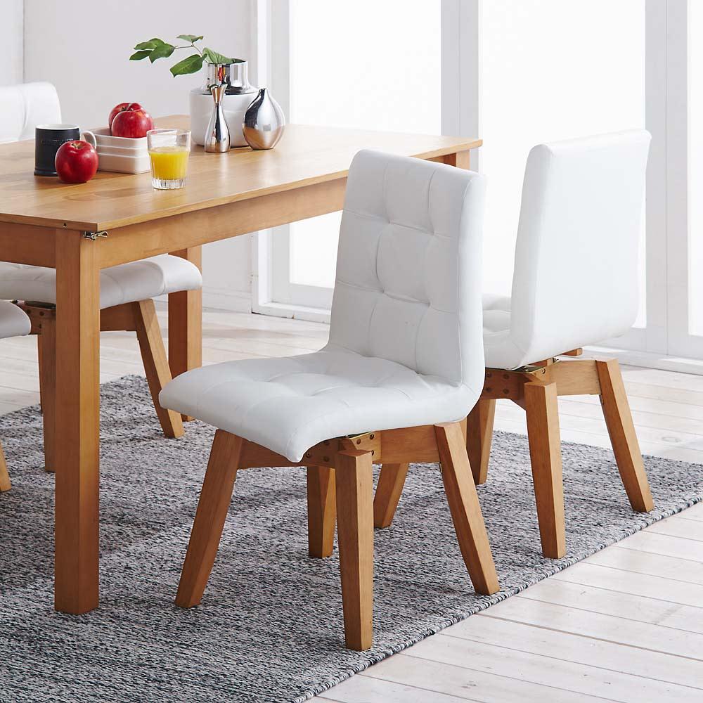 ナチュラルモダン伸長式オーク天然木ダイニングお得な3点セット(伸長式テーブル・幅110・150cm+回転チェア2脚組) 回転チェアが2脚付属します。