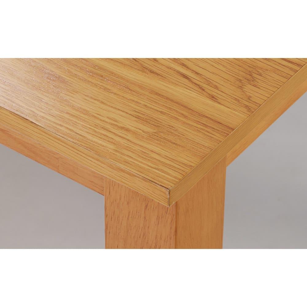 ナチュラルモダン伸長式オーク天然木ダイニングお得な3点セット(伸長式テーブル・幅110・150cm+回転チェア2脚組) 伸長時も木目がつながるオーク材天板。