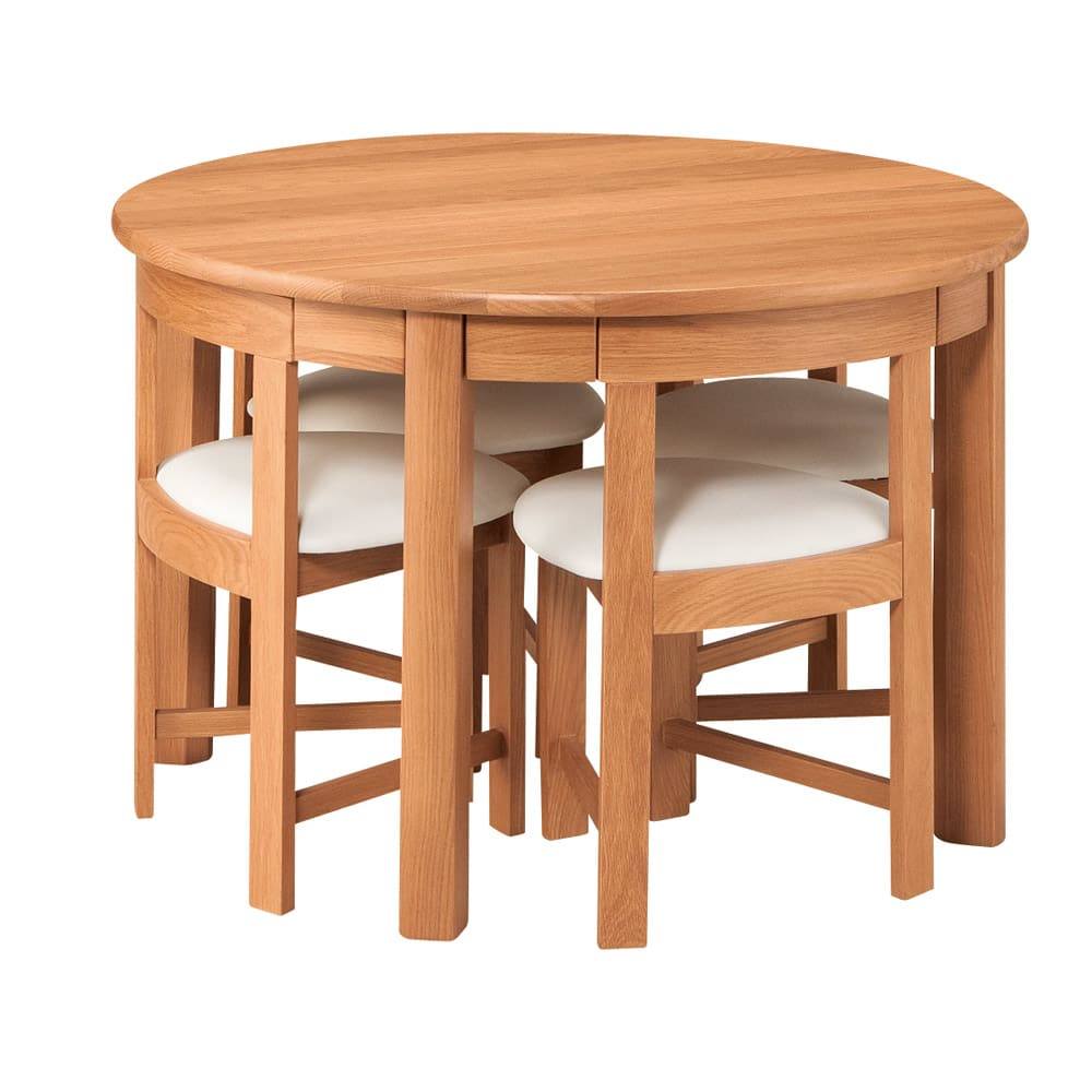省スペースラウンドダイニングシリーズ お得な5点セット(テーブル+チェア2脚組×2) ~POINT~ 直径105cmのテーブルぶ背もたれまでピッタリ収納。※お届けはテーブル+チェア4脚の5点セットです)