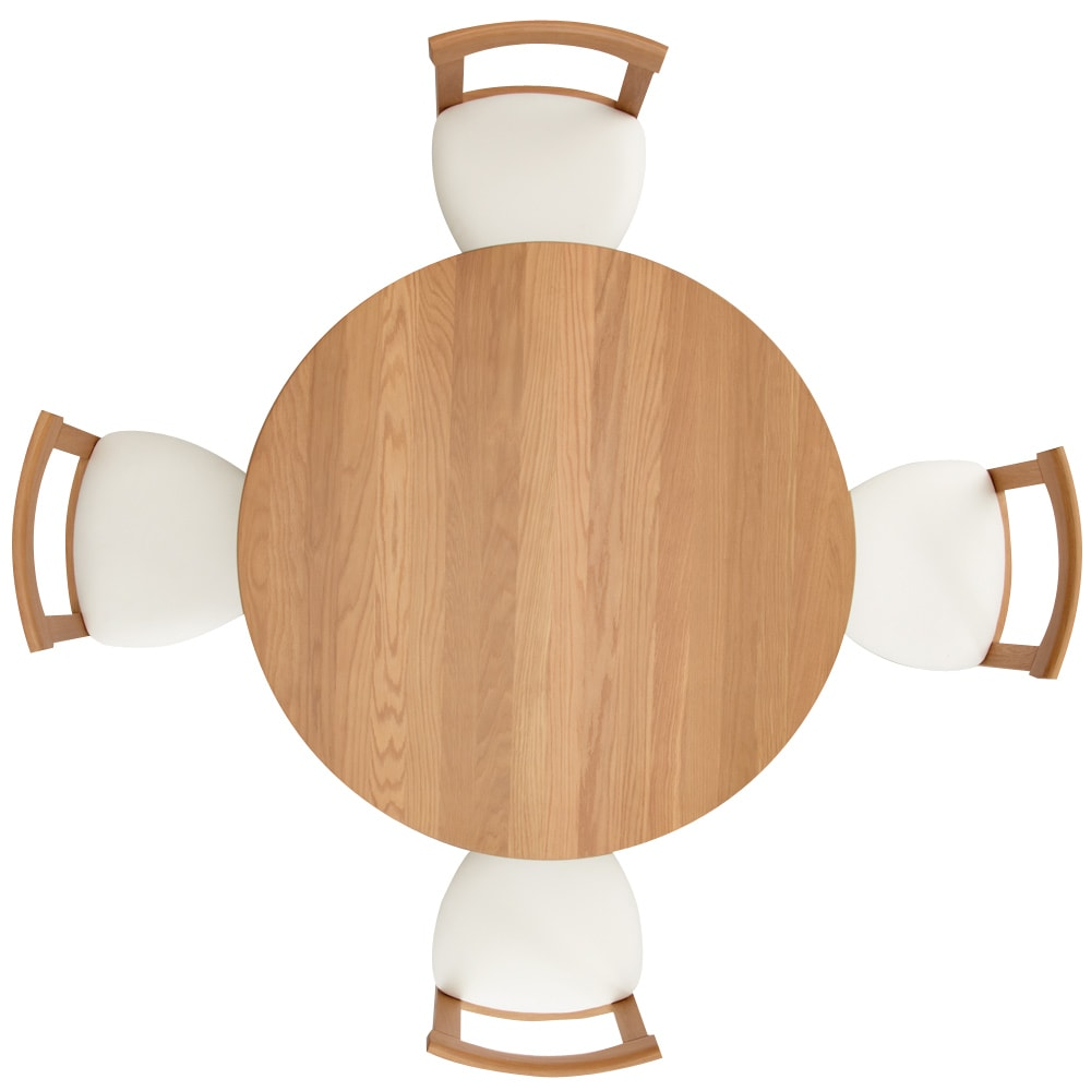 省スペースラウンドダイニングシリーズ お得な5点セット(テーブル+チェア2脚組×2) 真上から  ゆったり4人で座れます。円卓なので距離がちじまり会話も弾みます。
