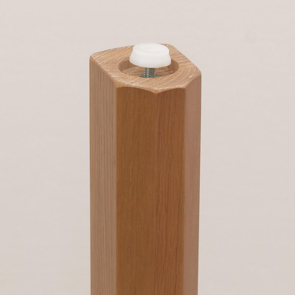 省スペースラウンドダイニングシリーズ お得な5点セット(テーブル+チェア2脚組×2) テーブル脚裏にはアジャスター付きで水平を保ちます。