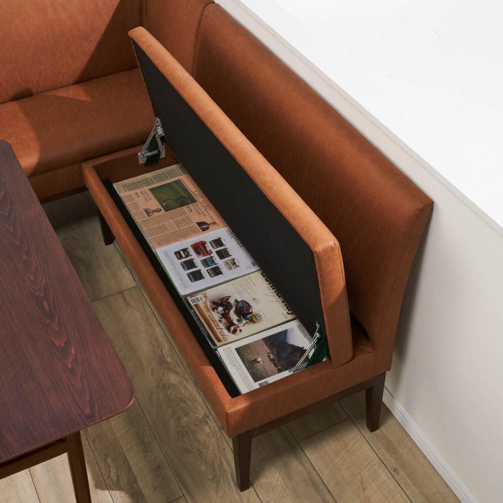 省スペースリビングダイニング お得なソファセット 右カウチ(右カウチ(座って右肘)+収納庫付きベンチソファ) ベンチの座面下には便利な収納庫付き。有効内寸:幅112・奥行32・高さ8.5cm