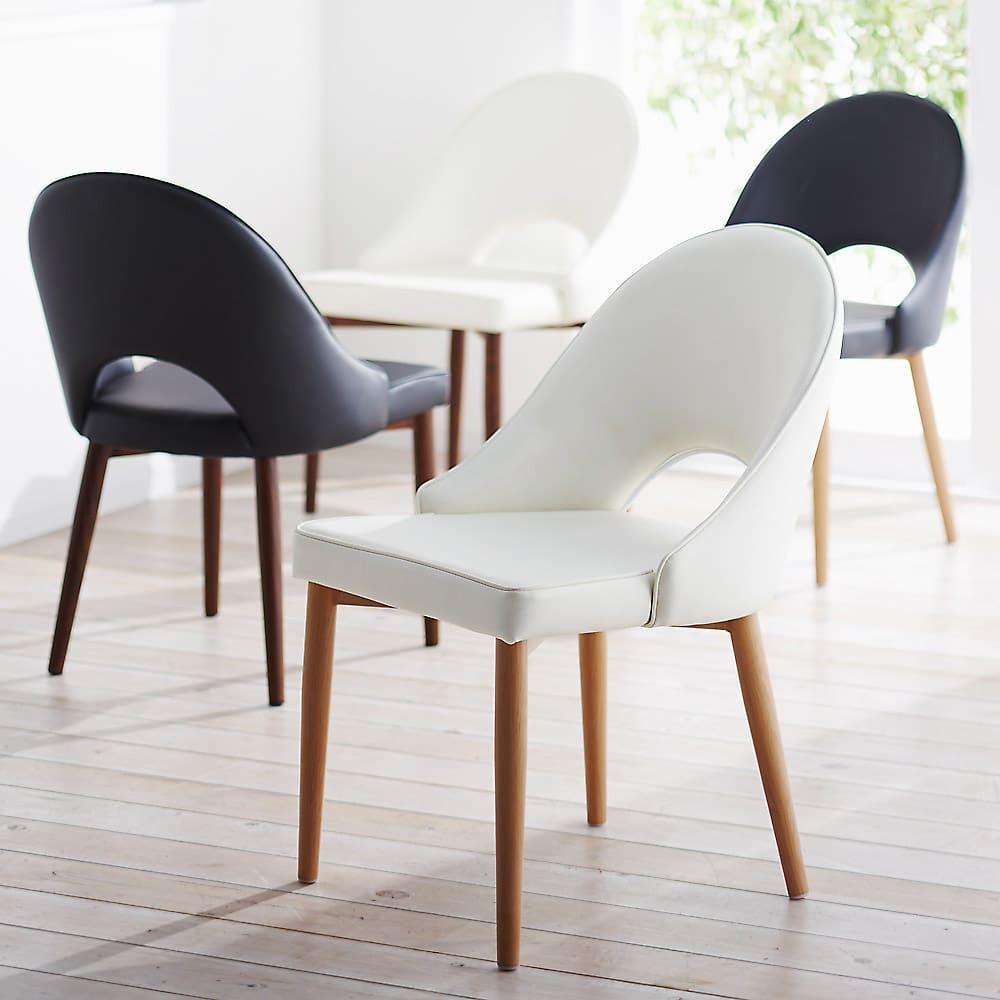 高さ自由自在!カフェスタイルダイニング 5点セット(丸形昇降テーブル径110cm+ラウンジチェア×4) ホワイト チェア座面はホワイトとブラック、脚部はナチュラルとダークブラウンからお選びいただけます。