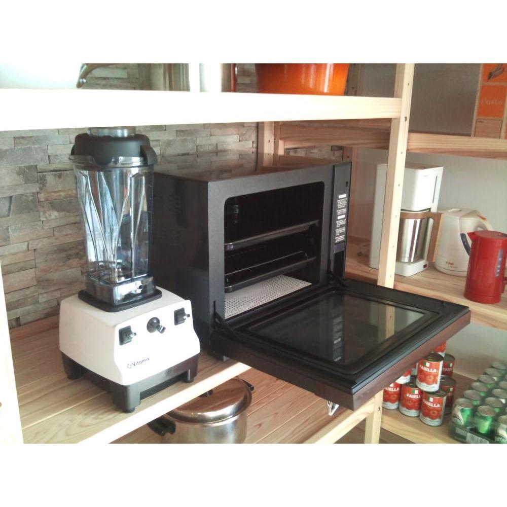 国産杉の無垢材キッチン収納 パントリーキッチンラック 幅89cm奥行51cm 調理家電やキッチン家電の収納に便利なオープンラック。