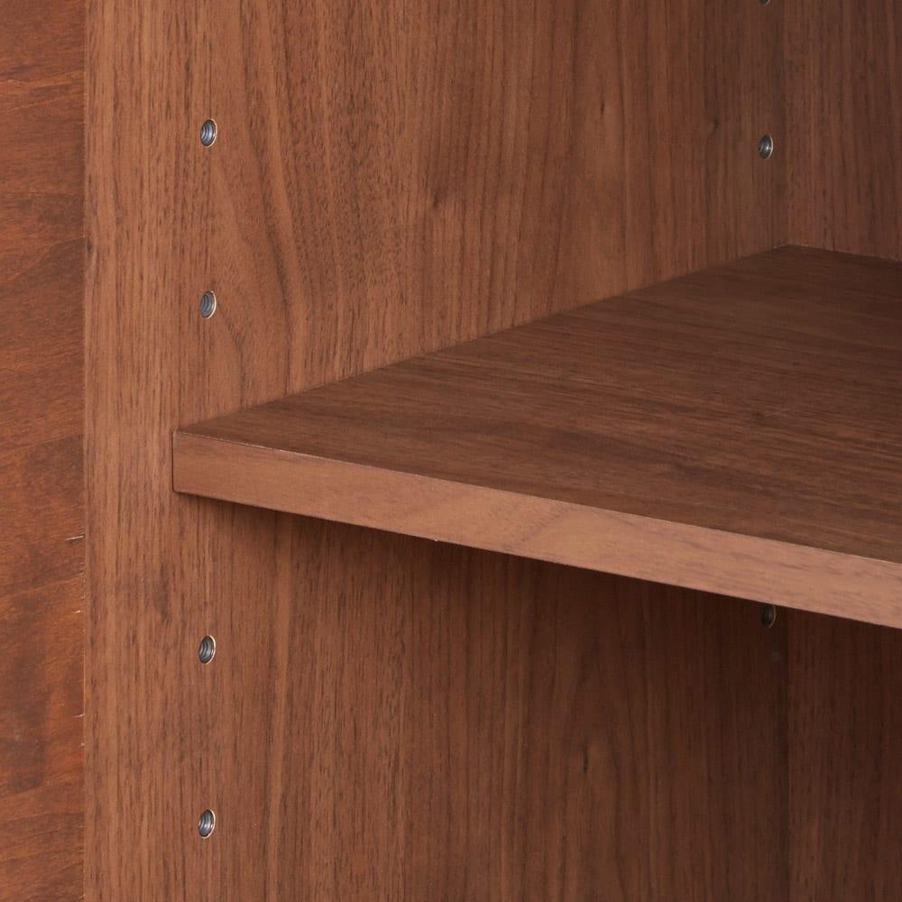 アルダー天然木アールデザインシリーズ カウンター 幅120cm 可動式の収納棚は5cm間隔調節9段で調節できます。