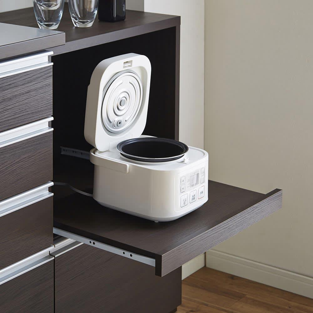 簡単に幅調節可能!スライド伸長式カウンター幅91~126cm 家電タイプ スライドテーブルは27cm前方へ スライドテーブル耐荷重量約10kg