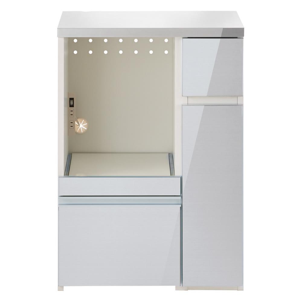 サイズが選べる家電収納キッチンカウンター ロータイプ 幅60cm (エ)ストライプシルバー(ヘアライン調)