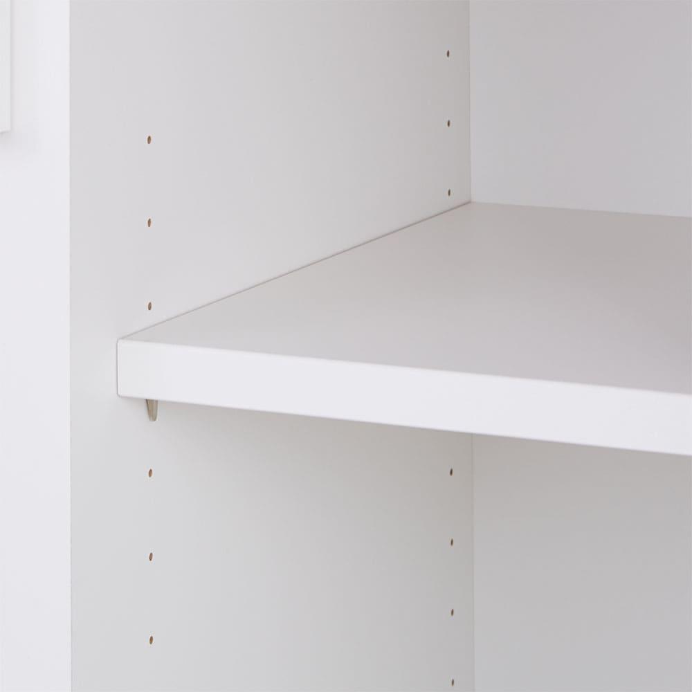 サイズが選べる家電収納キッチンカウンター ロータイプ 幅90cm 収納棚は3cm間隔で高さ調節可能。