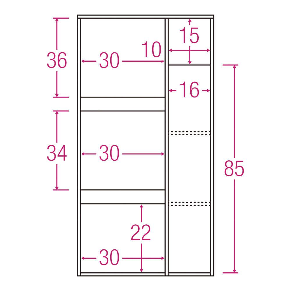 サイズが選べる家電収納キッチンカウンター ハイタイプ 幅60cm 内寸図(単位:cm)