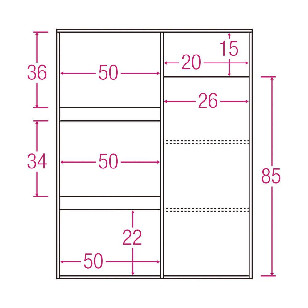 サイズが選べる家電収納キッチンカウンター ハイタイプ 幅90cm 内寸図(単位:cm)