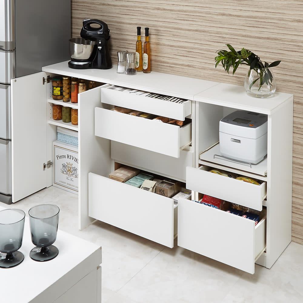 組み合わせ自在の薄型人工大理石天板カウンター 家電収納幅45cm コンパクトでも充実の収納ボリュームでキッチンもあっという間にすっきり。