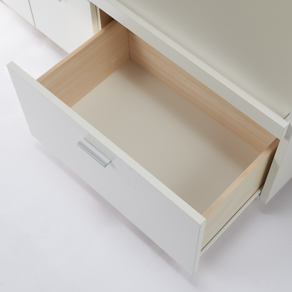 家電たっぷり収納ステンレス天板カウンター 幅90cm 引き出しはたっぷり鍋や食品ストックなどボリューム感のある物をまとめて収納。