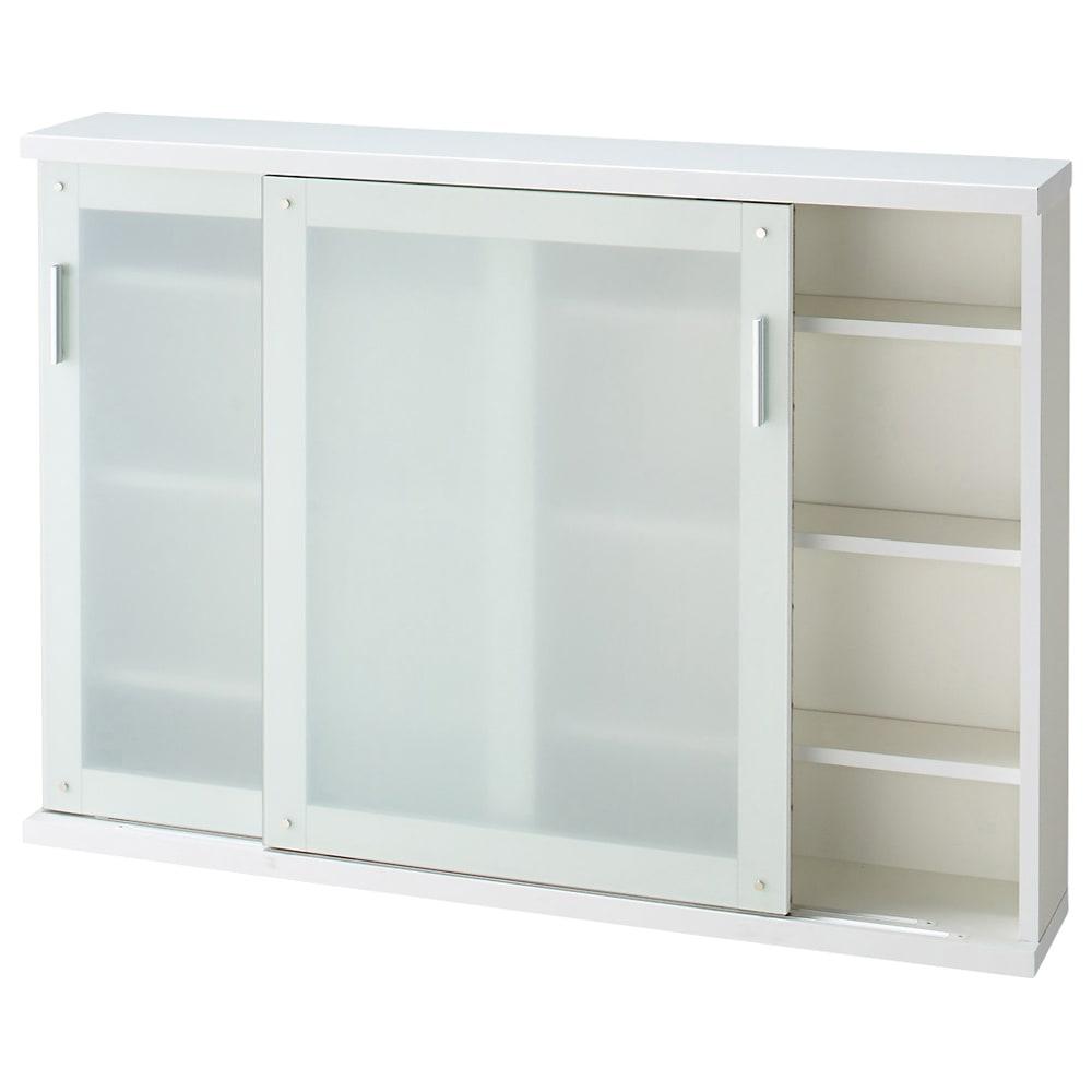 収納物の見やすい ガラス戸カウンター下収納庫 引き戸 幅120奥行22cm ※お届けする商品です。