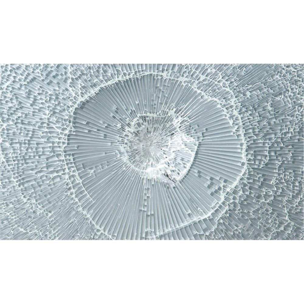 収納物の見やすい ガラス戸カウンター下収納庫 引き戸 幅120奥行22cm ガラス破片の飛び散りを軽減する飛散防止フィルム貼り。