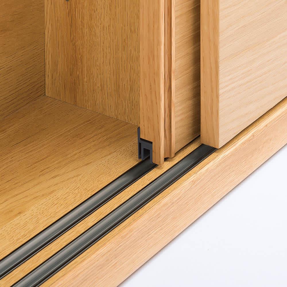 オークカウンター下収納庫 奥行22高さ85cm 引き戸・幅150cm 軽く開閉できるスライドレール付き引き戸。