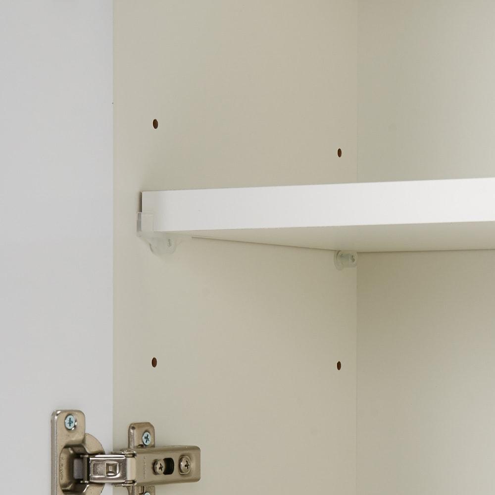 国産!ツヤツヤ光沢が美しい 薄型スクエアキャビネット(奥行22cm) 収納庫・幅80cm 可動棚は(固定棚の間で)6cm間隔で3段階の調節が可能です。
