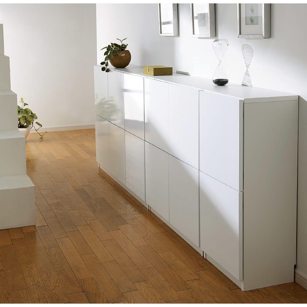 国産!ツヤツヤ光沢が美しい 薄型スクエアキャビネット(奥行29cm) チェスト・幅40cm リビングにもふさわしい収納。食器、食品などのキッチン収納か本棚(書棚)まで幅広くお使いいただけます。 ≪組合せ例≫ ※写真はチェスト、収納庫幅120です。