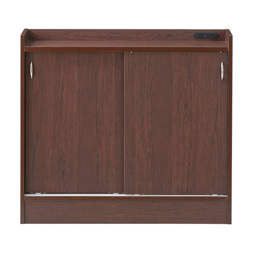 コンセント付き引き戸カウンター下収納庫 幅89cm奥行35cm (ウ)ダークブラウン 落ち着いた色味のダークブラウンでお部屋を上品に。