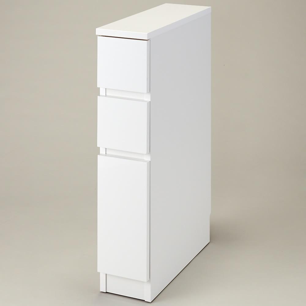 組立不要!幅1cm単位で124サイズから選べるすき間収納庫 ロータイプ 幅15~30cm・奥行45cm (ア)ホワイト