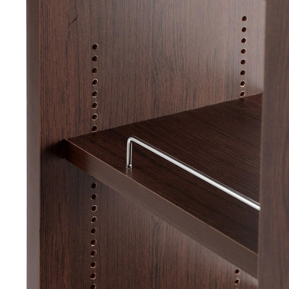 収納・ダストワゴン付きすき間作業台 収納棚ワゴン 幅35cm 可動棚は1cm間隔で高さ調節できます。