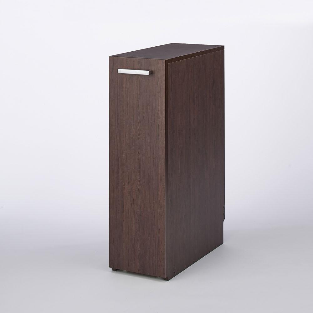 収納・ダストワゴン付きすき間作業台 収納棚ワゴン 幅35cm 色見本(イ)ダークブラウン ダークブラウンはおしゃれなキッチンに似合うシックな色合い。 ※写真は収納棚ワゴン幅25cmタイプです。