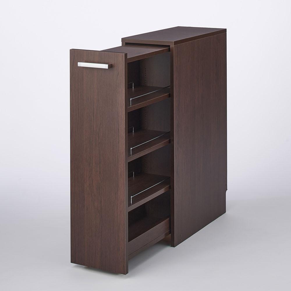 収納・ダストワゴン付きすき間作業台 収納棚ワゴン 幅35cm 色見本(イ)ダークブラウン 奥の物まで出し入れしやすいスライド棚。 ※写真は収納棚ワゴン幅25cmタイプです。