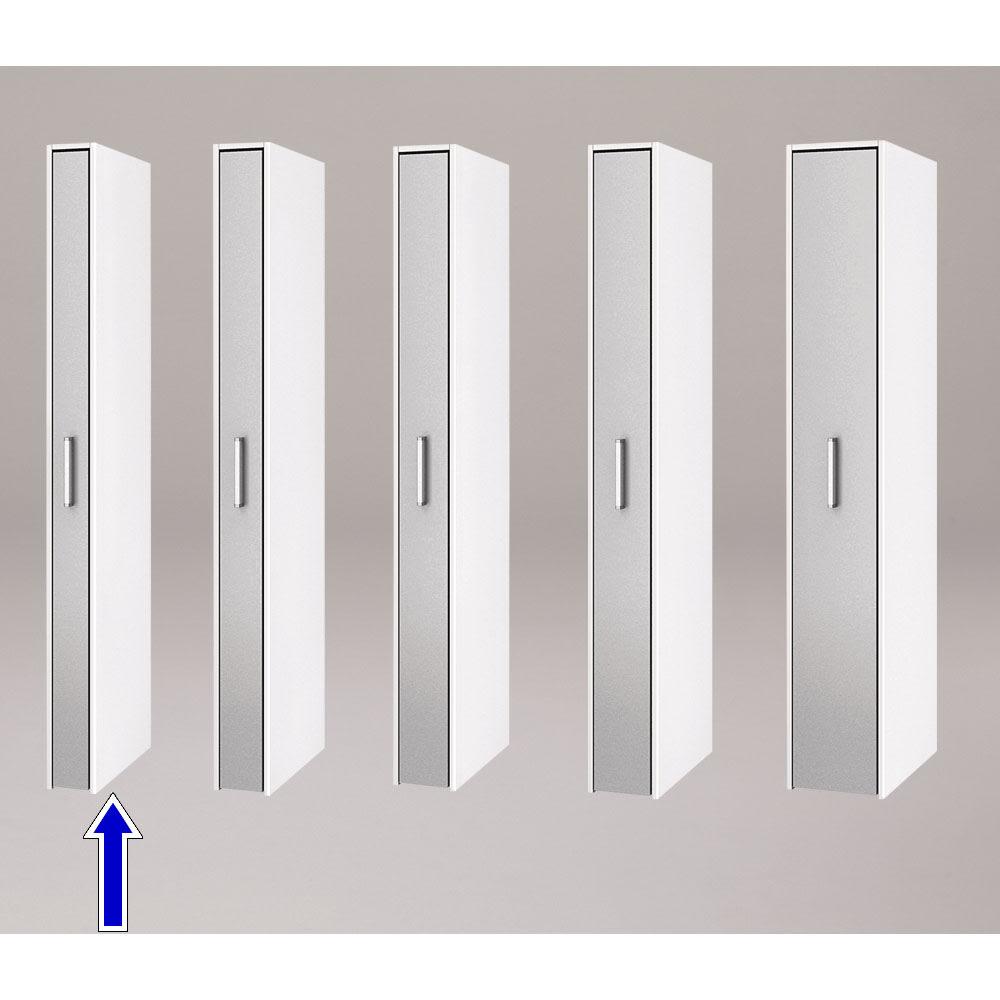ボックス付きリバーシブル すき間収納庫 幅15奥行58cm シリーズは幅15、17、19、21、29cmの5タイプ 5サイズから選べます。 ※写真は奥行58cmタイプシルバー面使用時です。