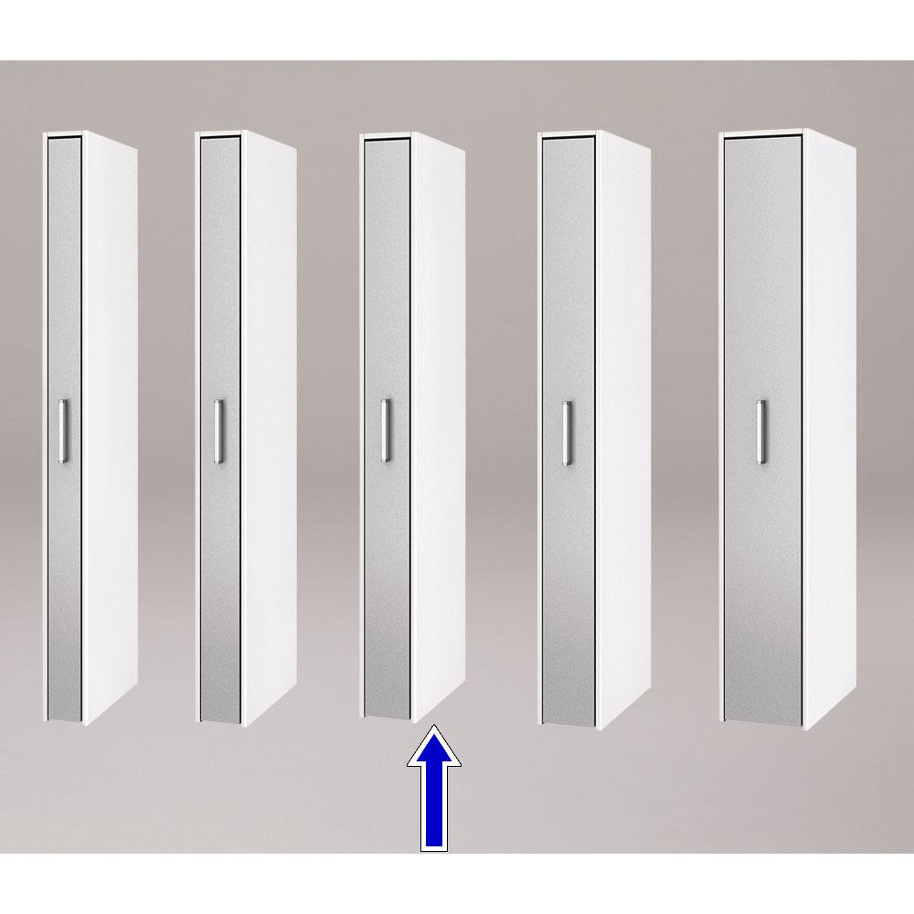 ボックス付きリバーシブル すき間収納庫 幅19奥行58cm シリーズは幅15、17、19、21、29cmの5タイプ 5サイズから選べます。 ※写真は奥行58cmタイプシルバー面使用時です。