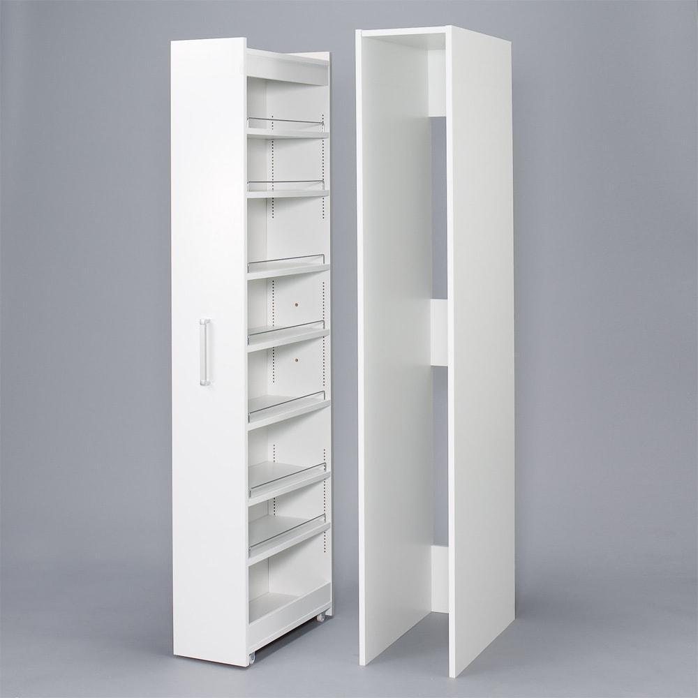 ボックス付きリバーシブル すき間収納庫 幅19奥行58cm ホコリや水ハネをボックスと、本体は分割された仕様になっています。