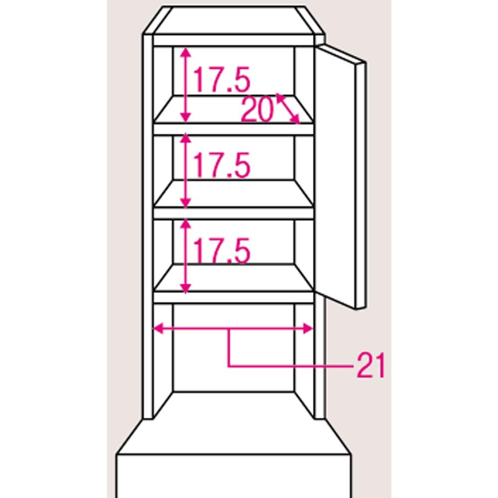 水ハネに強いポリエステル仕様 キッチンすき間収納庫 奥行55cm・幅25cm ハイタイプ 上段棚部のサイズ入り詳細図。棚板は3cmピッチで可動できます。