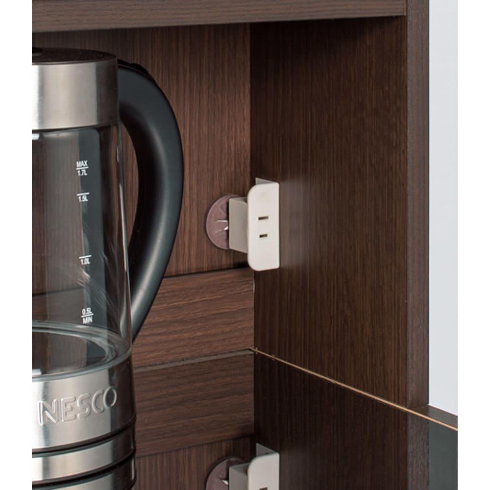 色が選べるステンレス天板 すき間収納庫 ハイタイプ 幅25高さ170cm 天板の奥には家電の使用に便利なコンセント付き。