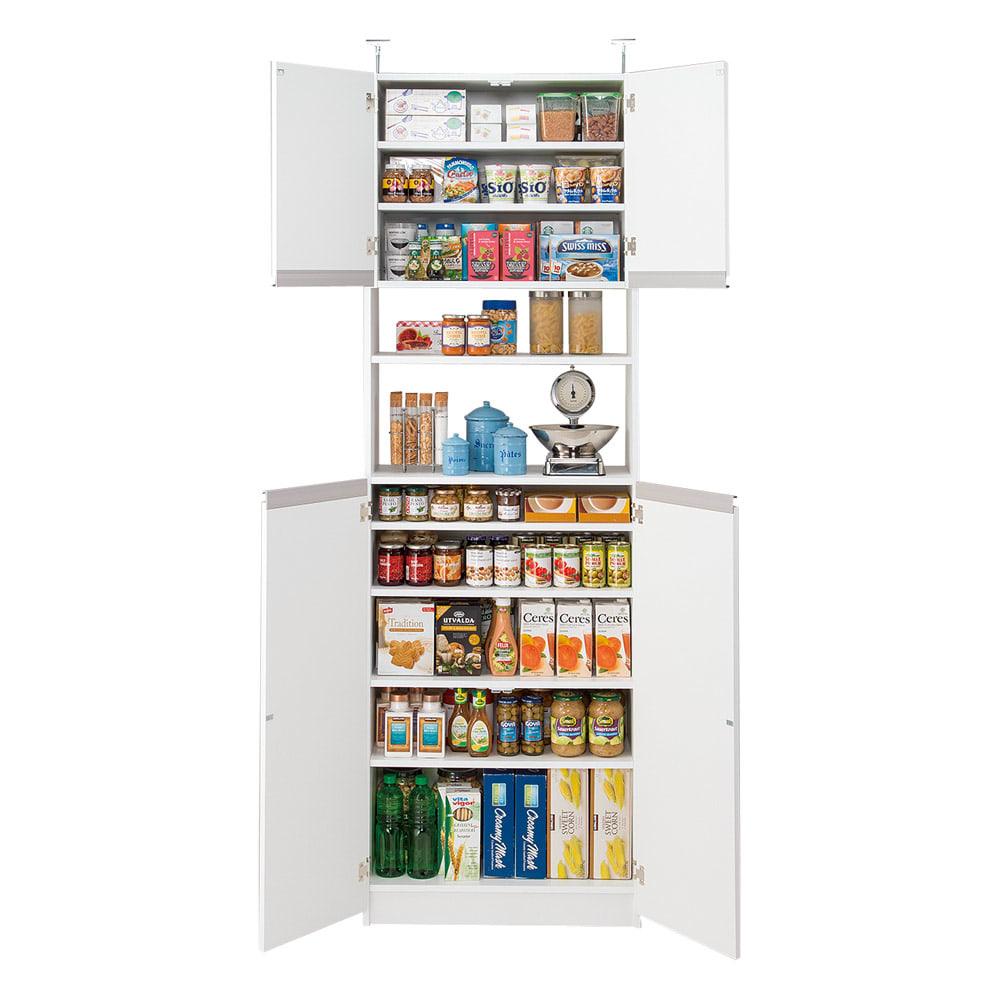 薄型で省スペースキッチン突っ張り収納庫 扉タイプ 幅75cm・奥行31cm キッチン用品、調味料などの細々したものはもちろん、 薄型なので洗面所のサニタリー収納としても◎