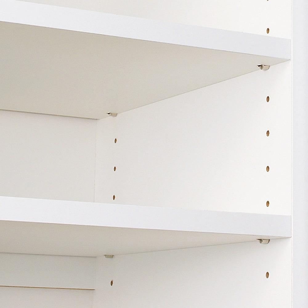 家電が隠せる!シンプルキッチンストッカー食器棚 高さ180cm 収納棚板は3cmピッチで高さ調整が可能です。
