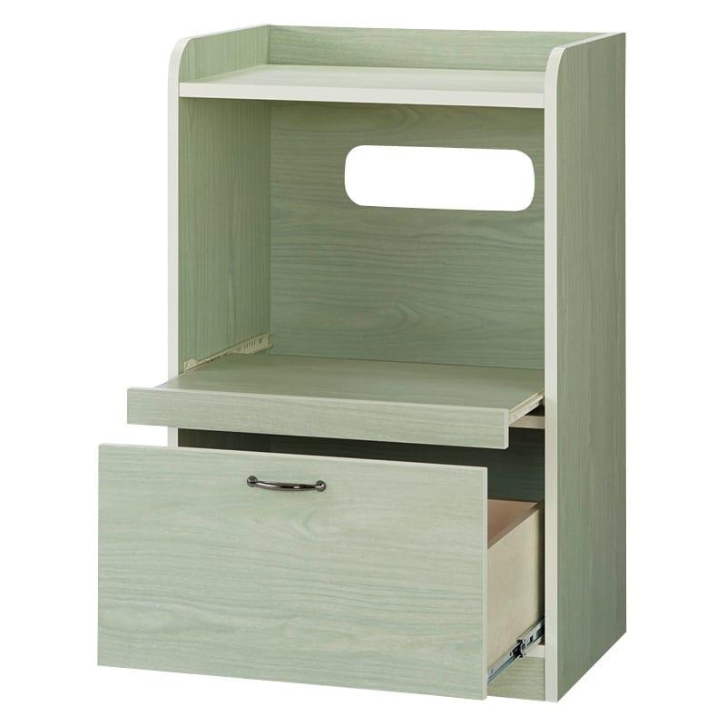 キッチン収納ミニ食器棚シリーズ レンジ台小(高さ90.5cm) (ア)グリーン系