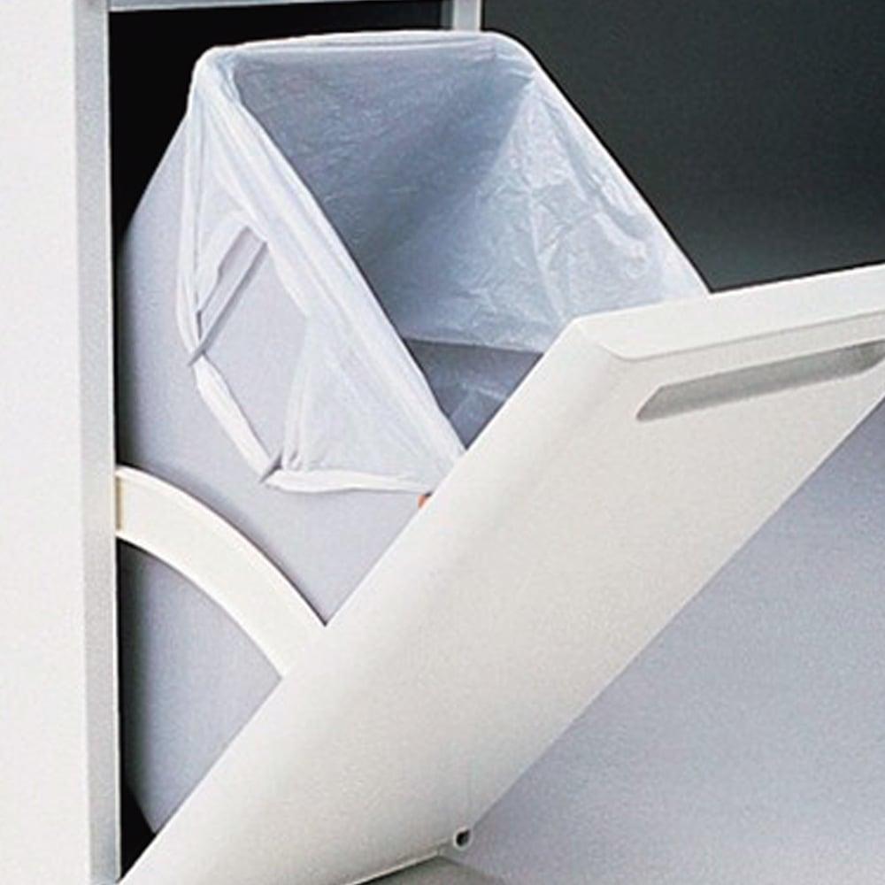 キッチンすき間収納 トールタイプダストボックス 2分別 ペールにゴミ袋のストッパー付き。