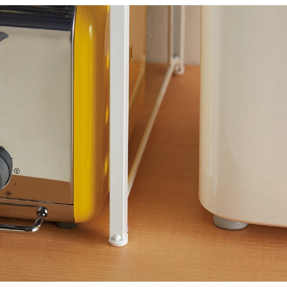 頑丈!カウンター上省スペース 脚部幅1cmキッチン収納ラック 棚1段タイプ 脚部幅1cmで狭い所にもピタッ。